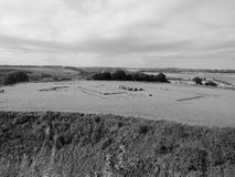 Old Sarum Cathedral ruins in Salisbury in black and white Stock Photo