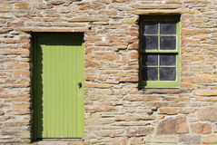 Old sash & case window and wooden door Royalty Free Stock Photography