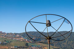 Old satellite dish in mountain Royalty Free Stock Photo