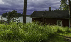 Old sauna. Traditional sauna at sea shore in Finland Royalty Free Stock Photo
