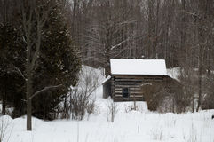 Old sawn log cabin in the snow in winter landscape Stock Photo