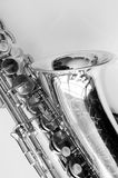 Old Saxophone. Black and white Vintage Saxophone Royalty Free Stock Image