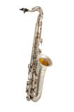 Old saxophone. Old vintage silver saxophone of 1950-1960 Royalty Free Stock Image