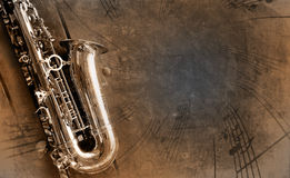 Old Saxophone with dirty background stock images
