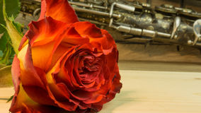 Old saxophone with roses Stock Images
