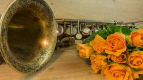 Old saxophone with roses Stock Image