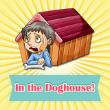 Old saying in the doghouse. Illustration vector illustration
