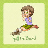 Old saying spill the beans Royalty Free Stock Image