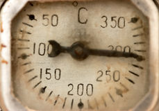Old scale display of thermometer Stock Photo