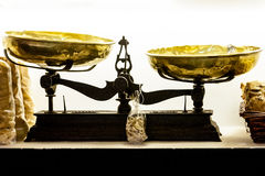 Old scale. Old shiny messing scale in very good conditions royalty free stock photo