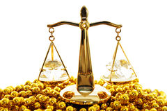 Old scales. Decorative golden scales isolated on a white background stock image