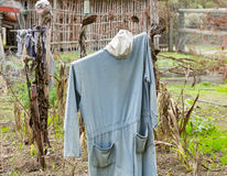 Old scarecrow in vegetable garden Royalty Free Stock Image