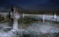 Old scary graveyard Stock Photography
