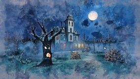 Old scary mansion and creepy trees at night sketch stock illustration