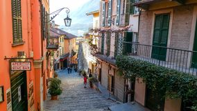 Old scenic streets in Bellagio, Como lake, Italy. royalty free stock images