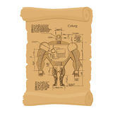 Old scheme of cyborg. Ancient scroll of human Scheme of  robot. Stock Images