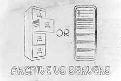 Old school archive or computer servers for confidential informat Royalty Free Stock Photos