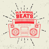 Old school beats vintage stamp. T-shirt print design. Old school beats vintage stamp. Printing and badge applique label t-shirts, jeans, casual wear. Vector Royalty Free Stock Photography