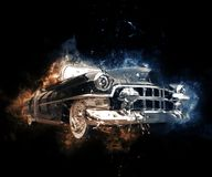 Old school black muscle car. Abstract illustration Stock Photo