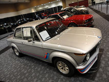 Old School BMW and other classic cars displayed stock image