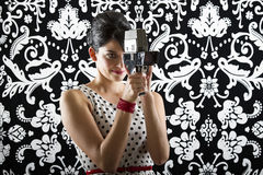 Old school camera woman Royalty Free Stock Photo