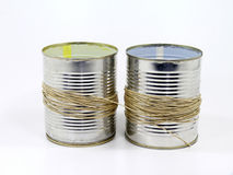 Old school cans phone. On white background Royalty Free Stock Image