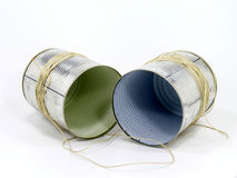 Old school cans phone. On white background Royalty Free Stock Photos