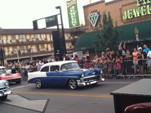 Old school car hot August nights Reno Nevada. Belair car driving in parade Stock Photos