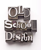 Old School design. The words Old School Design done in letterpress type on a white paper background royalty free stock photo