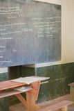 Old school desks. Classroom in the poor city of South Africa royalty free stock image