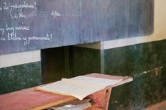 Old school desks. Classroom in the poor city of South Africa stock photos