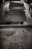 Old School Desks in a Row Royalty Free Stock Image