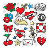 Old school fashion patch badges. Old school fashion patch badges with heart, cherry, dagger and other elements. Vector illustration isolated on white background Stock Images
