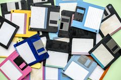 Old school floppy disk drive data storage Stock Images