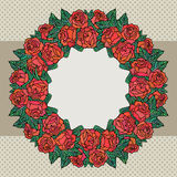 Old school frame with roses Royalty Free Stock Photo