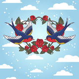 Old school frame with roses and birds. Vector illustration. Royalty Free Stock Photos