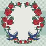 Old school frame with roses and birds. Vector illustration. Stock Images