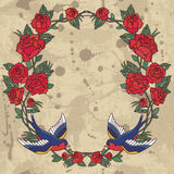 Old school frame with roses and birds. Vector illustration. Royalty Free Stock Image