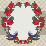 Old school frame with roses and birds. Vector illustration. Royalty Free Stock Photo