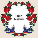 Old school frame with roses and birds. Vector illustration. Stock Photos