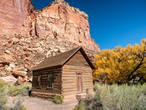 Old school in Fruita at Fremont river,m Utah. US Royalty Free Stock Photo