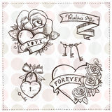 Old school graphic hearts with roses and ribbons. Stock Images
