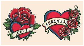 Old school hand drawn graphic illustration with hearts, roses and ribbons Stock Illustration