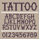 Old school hand drawn tattoo vector font Stock Images