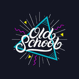 Old School hand written lettering poster, card, tee print. Retro 80`s style. Isolated on background. Vector Illustration Royalty Free Stock Image