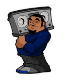 Old School Hip Hop B Boy with Boombox. Hip Hop Urban City Guy with a Boombox and Style Stock Images