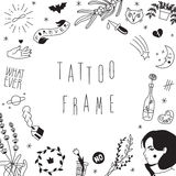 Old school hipster black tattoos vector frame. Royalty Free Stock Photos