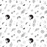 Old school hipster black tattoos vector seamless pattern Stock Images