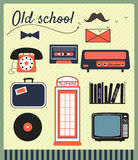 Old school hipster elements Stock Images
