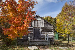 Old School House in Fall stock photos